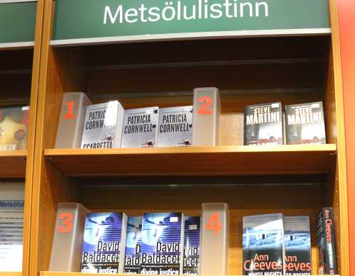 'White Nights' by Ann Cleeves and other English-language crime fiction shelved in a bookshop