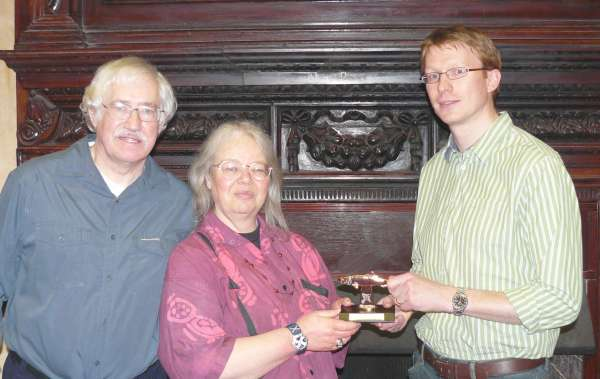 Roger Cornwell and Jean Rogers were presented with a Red Herring award by Tom Harper, retiring Chair of the CWA