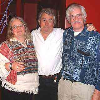 Terry Jones (centre) with Jean Rogers and Roger Cornwell
